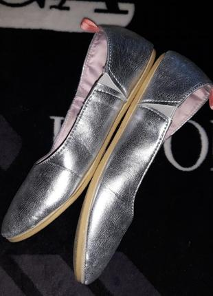 Туфли туфельки тапочки балетки серебристые фирма hello spring