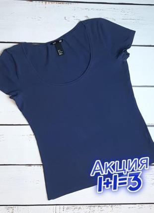1+1=3 отличная базовая синяя женская футболка h&m, размер 46 - 48