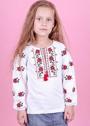 Вишиванка для дівчаток з довгим рукавом, біла