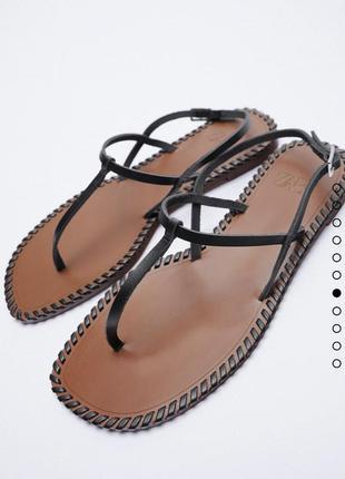 Босоножки сандали кожаные на низком хожу кожа натуральная zara оригинал