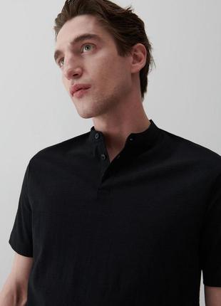 Стильная брендовая оригинальная фирменная однотонная чёрная мужская футболка поло 100% хлопок натуральная в деловом стиле для офиса