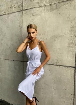 Платье летнее женское нарядное длинное миди легкое тонкое с поясом