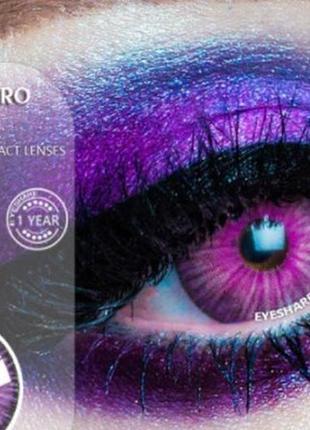 Линзы цветные для глаз new york, фиолетовые, пара + контейнер для линз в подарок