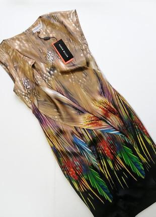 Фирменное роскошное шёлковое платье в цветы натуральный шелк karen millen