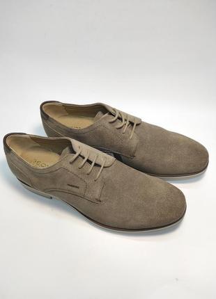 Туфлі замшеві geox коричневі нові класичні ділові офісні2 фото