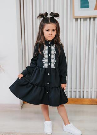 Черное платье для девочки с длинным рукавом