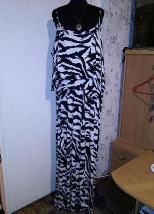 Трикотажное,длинное платье-сарафан с открытыми плечами и воланом,большого размера,турция