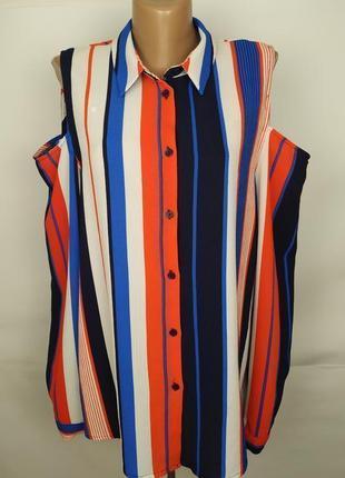 Блуза стильная в полоску с открытыми плечами uk 14/42/l
