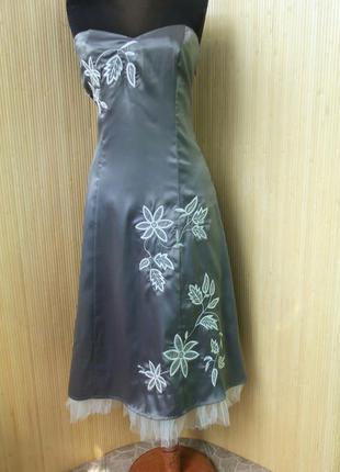 Винтажное летнее атласное коктейльное/ вечернее платье бюстье с фатином
