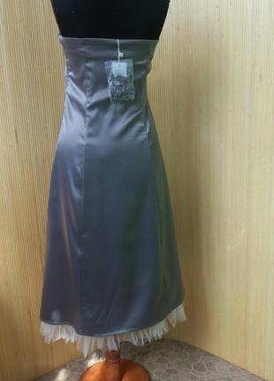 Винтажное летнее атласное коктейльное/ вечернее платье бюстье с фатином3