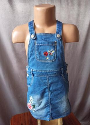 Джинсовый сарафан вышивка на девочку 2-3 года