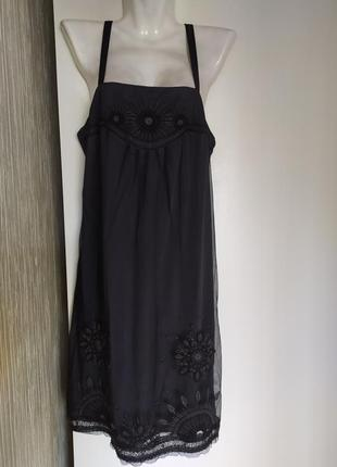 Платье на бретельках сетка с вышивкой, promod,42-44