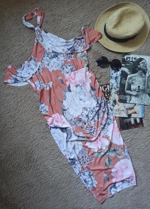 Шикарное платье миди с открытыми плечами и воланами для беременных/плаття/сукня/сарафан