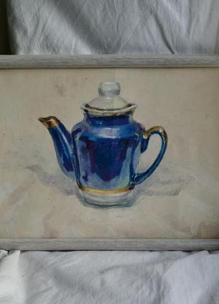 Оригінал картина для кухні в інтер'єр синій чайник посуд