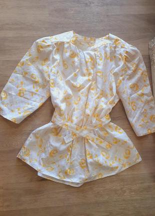 Блуза рубашка летняя с поясом объёмные рукава фонарики