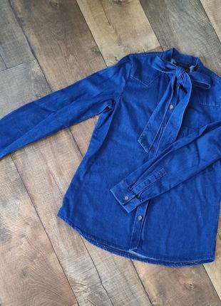 Рубашка джинсовая женская жіноча xxs-xs-s синяя длинный рукав