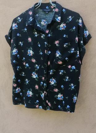 Топ блуза укороченная летняя чёрная в цветочек