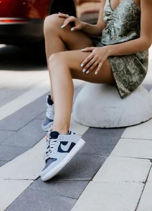 ❤ женские серые кожаные кроссовки nike dunk low college navy grey ❤
