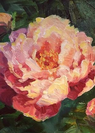 Оригінал картина маслом квіти квітка піон в інтер'єр