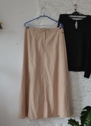 Брендовая! бежевая юбка-миди  от tom tailor  woman