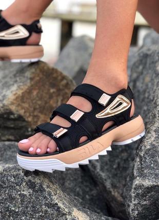 Женские летние сандали босоножки fila с золотыми вставками