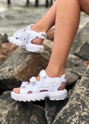 Женские летние сандали босоножки белые fila
