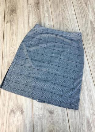 Стильная актуальная юбка h&m клетчатая в клетку zara asos тренд с лампасами полосками короткая мини миди