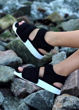 Женские летние сандали босоножки чёрные adidas