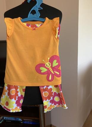 Яркий комплект(футболка,шорты,штанишки) carters на 2-3 года