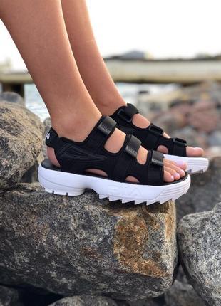Стильные женские летние сандали босоножки fila чёрные