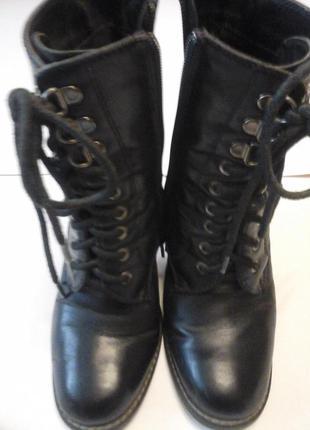 Высокие демисезонные черные ботинки на устойчивом каблуке, германия
