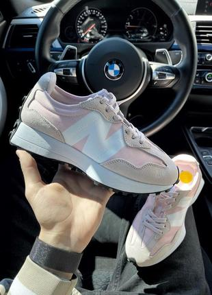 New balance 327 pink white женские кроссовки наложка