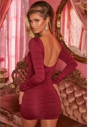 Платье oh polly цвет марсала,  трендовое платье со сборкой на попе,  платье новое с бирками💕2 фото