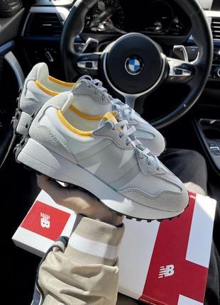 Шикарные женские кроссовки new balance 327 light grey наложка