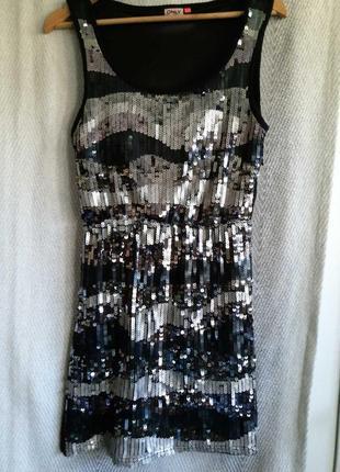 Новое женское летнее вечернее платье с пайетками, сарафан, туника.