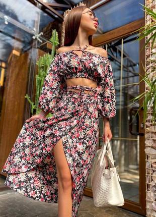 Летний костюм топ и юбка миди в цветочный принт