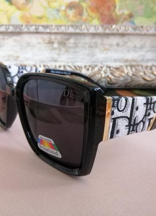 Модные чёрные солнцезащитные женские очки с поляризацией 2021