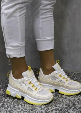 Кроссовки кожаные на массивной подошве, летние кроссовки сетка на высокой подошве, кроссовки на массивной подошве