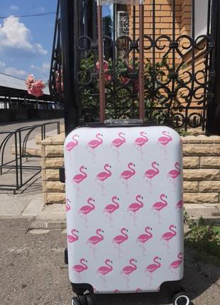 Дорожный чемодан с фламинго ручная кладь