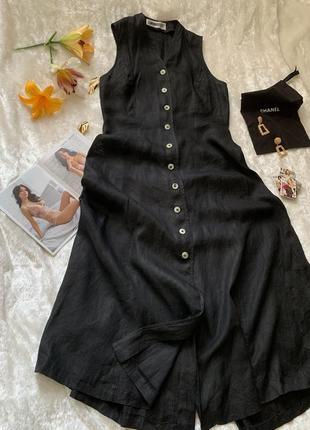Льняное платье сарафан на пуговицах