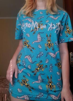 """Новая футболка """"rick and morty"""" xs, s от cropp town 💙2 фото"""