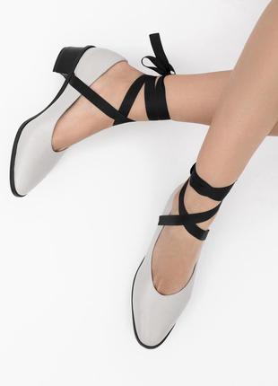 Туфли с лентами kachorovska (качество как у massimo dutti, michael kors)