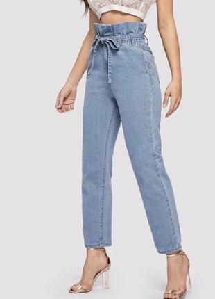 Мом джинсы с поясом высокая посадка redial.
