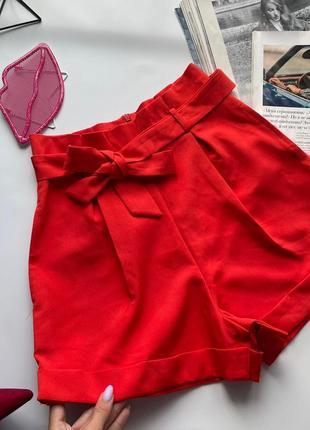 🩳красные шорты с поясом высокая посадка/ярко оранжевые высокие короткие шорты с карманами 🩳