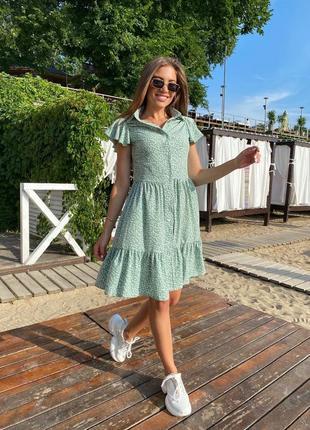 Платье летнее нарядное женское легкое свободное оверсайз в горошек бирюзовое