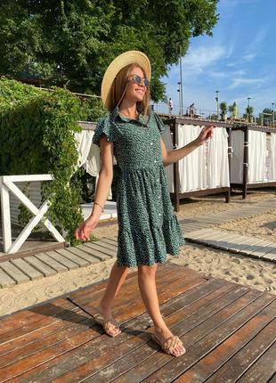 Платье летнее нарядное женское легкое свободное оверсайз в горошек зеленое