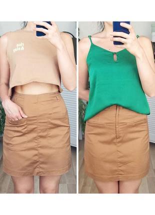 Базовая хлопковая миди юбка высокая талия юбка с высокой посадкой миди юбка телесная h&m