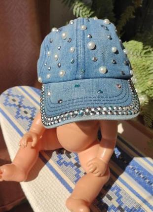 Джинсова кепка бейс з камінчиками і бусинками, джынсовая кепка