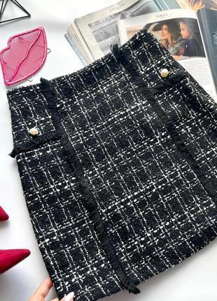 👗твидовая клетчатая чёрная юбка с пуговицами/чёрная юбка твид высокая посадка/юбка с бахромой👗