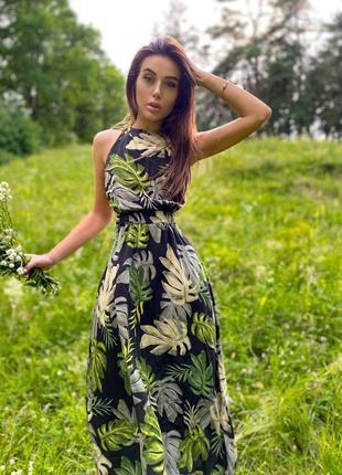 Летнее легкое платье с открытой спинкой